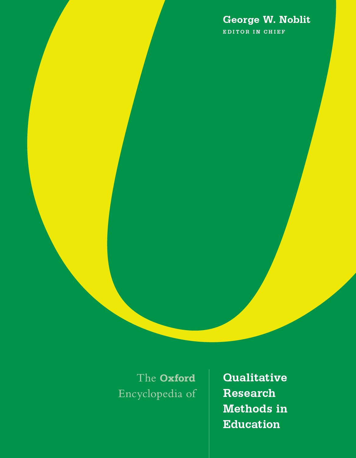 The Oxford Encyclopedia of Qualitative Research Methods in Education (1 ed.)