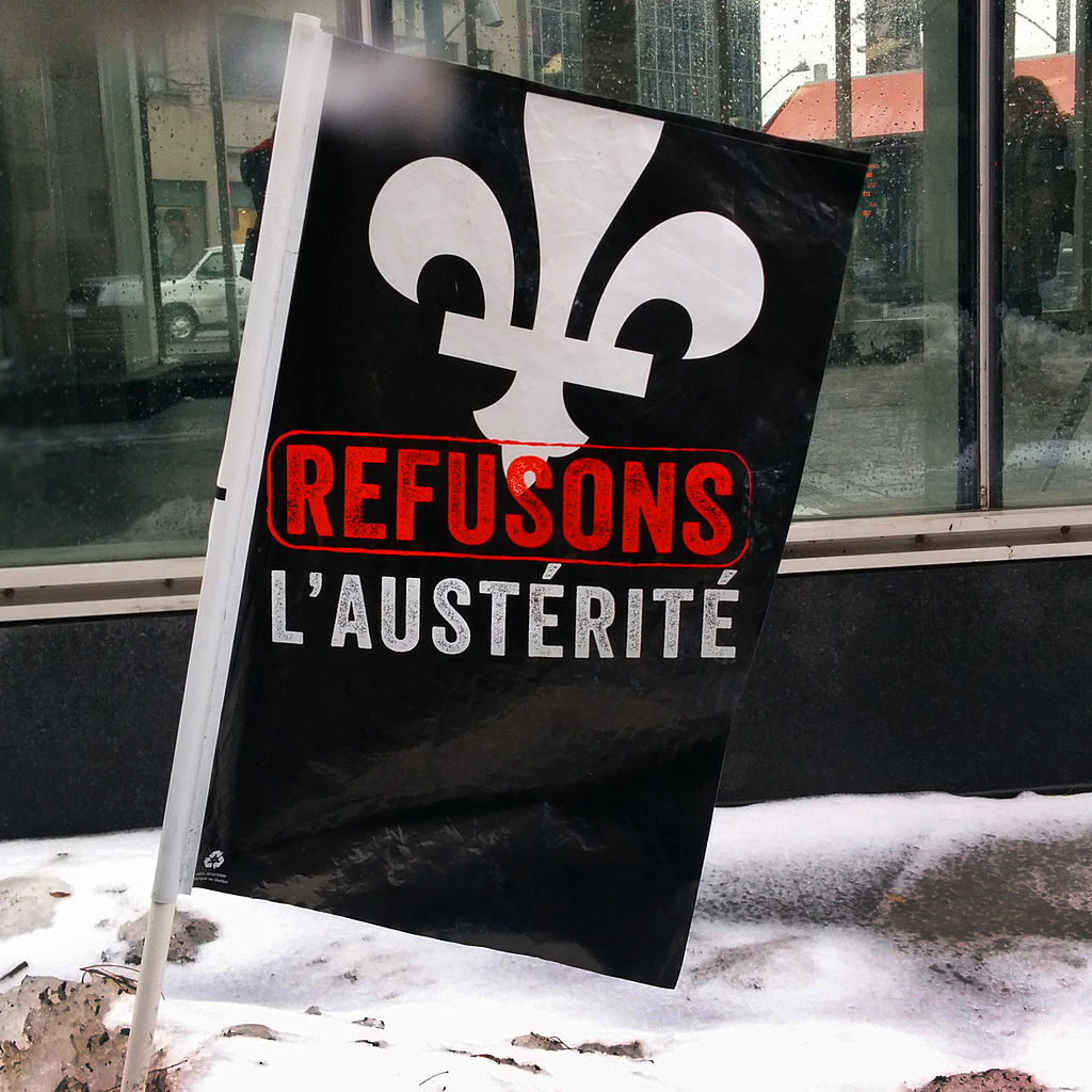 Anti-austerity flag in Quebec